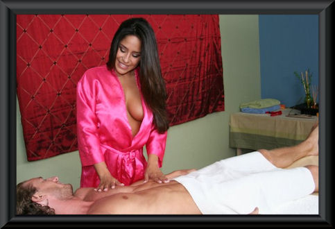 Massage Parlor Girl Spraying Oil